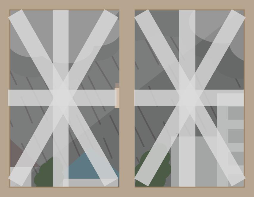 窓の養生テープの貼り方画像
